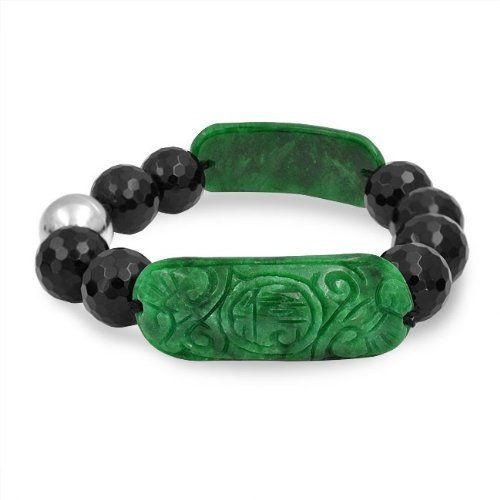 Bling Jewelry Gemstone Faceted Onyx Beads Carved Jade Bracelet Magnetic Clasp 7.5in Bling Jewelry. $29.99. Rhodium Plated Brass. Weighs 39.5 Grams. Onyx and Jade Magnetic Clasp Bracelet. 7.5in Length. Faceted Onyx beads and carved Jade