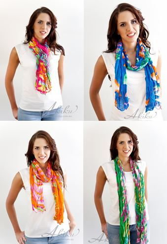 Balearic style light weight all season scarves! $19.95 www.akiku.com.au