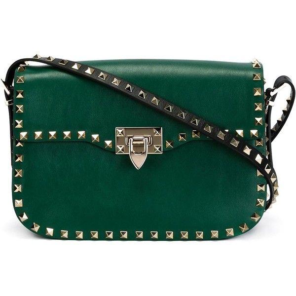 Valentino Garavani 'Rockstud' shoulder bag ($4,230) ❤ liked on Polyvore featuring bags, handbags, shoulder bags, green, green handbags, embellished handbags, kiss-lock handbags, shoulder handbags and green shoulder bag