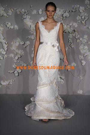 Lazaro belle robe de mariée 2012 glamour col en V ornée de ceinture organza