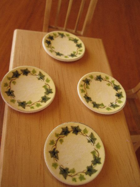 Dollhouse dinner plates from printable shrink plastic & 469 best Mini dishes plates jars bottles cooking suppliesetc ...