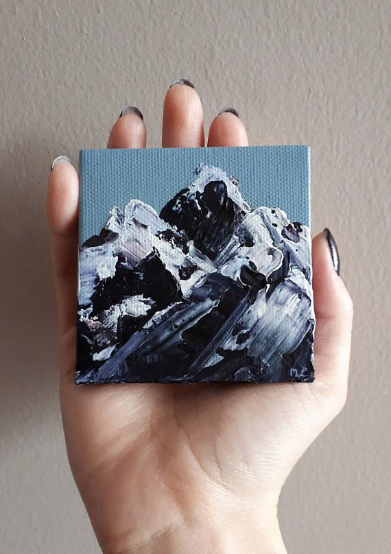"""TITLE // """"Impasto Mountain I"""" SIZE // 3 inch x 3 inch, 1 cm thick MEDIUM // Professional grade acrylics on stretched canvas. It is finished with a matt varnish. This the first impasto mountain painting I created. I used a palette knife and thickly added paint to make an abstract"""