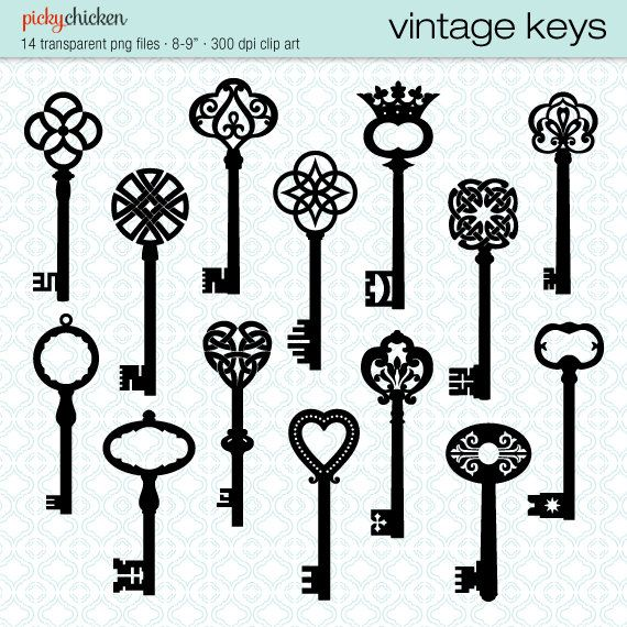 Vintage Keys clip art  14 black skeleton key by pickychicken, $4.00 etsy