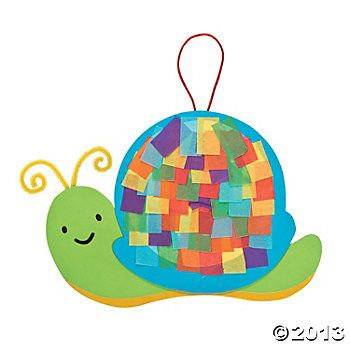 Snail craft: pipe cleaner antennae and hook, tissue shell, construction paper background