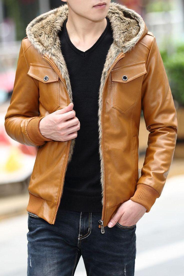 Men Boys Coat Thicken Warm Fur Lined Faux Leather Jacket