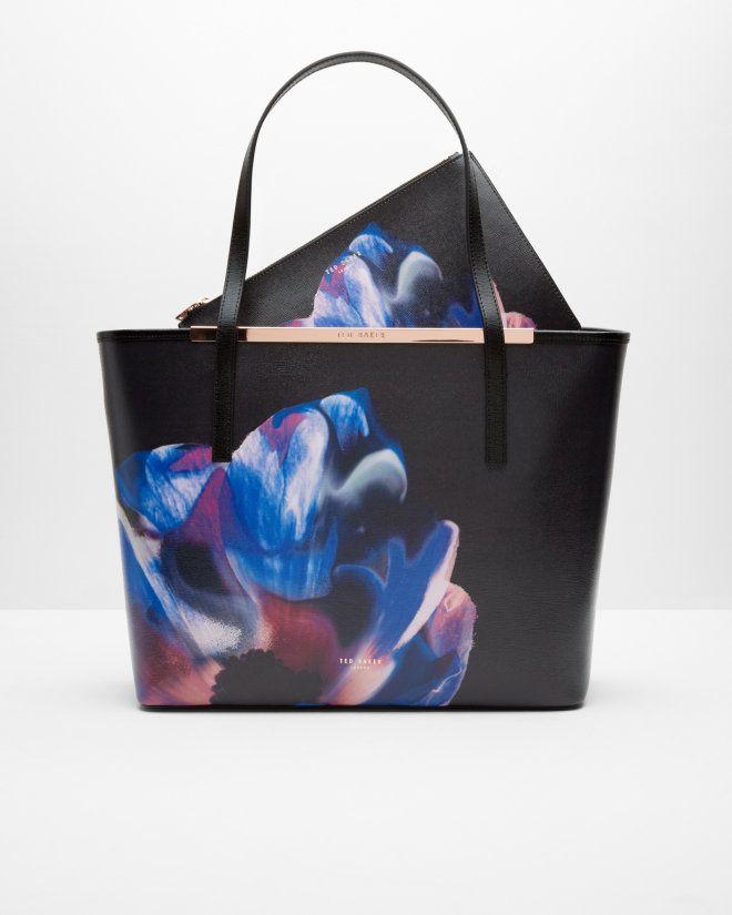 Cosmic Bloom leather shopper bag - Black | Bags | Ted Baker
