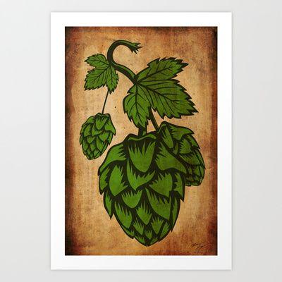 Craft beer hops print design. Digital art print of hops. Craft beer. Christmas Gift. Gift.
