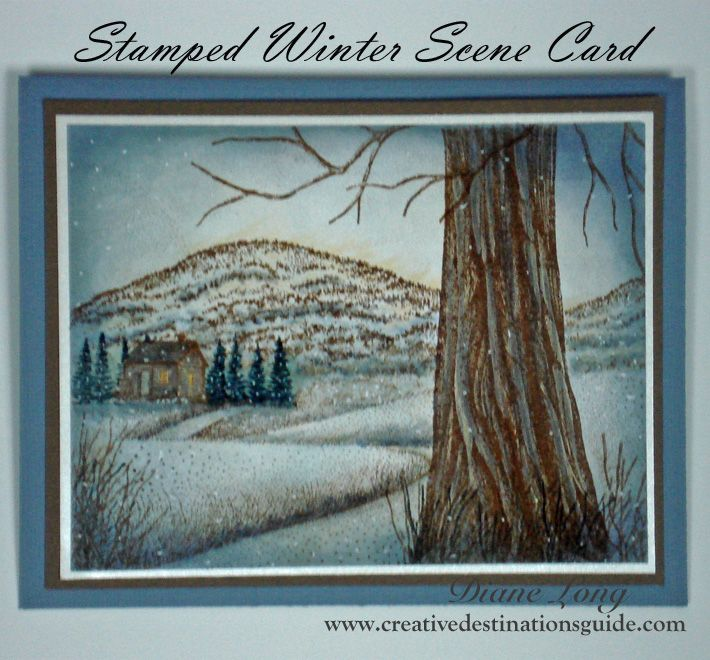 Stamped Winter Scene Card. Create a card for any season with Stampscapes stamps. For more ideas and inspiration visit Creative Destinations Guide