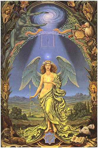 Virgo - This was the first painting I ever saw by Johfra. I came across a print in a pile of junk in the top floor of an antique store. It was in a cheap chrome frame. I thought it was amazing. I took it home and reframed it.