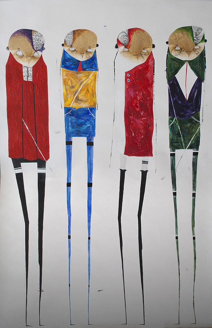 "Juan Carlos Vazquez Lima, ""La parada (The parade),"" 2012, Ink and acrylic on paper"