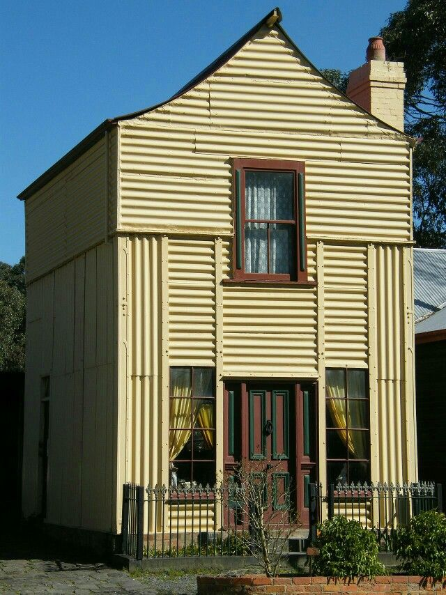 """The """"Loren"""" Iron House is a prefabricated iron house imported from England and erected in Melbourne at 62 Curzon Street North Melbourne circa 1853-54. The house was moved to its present location in 1968. It was the first building on site at the Old Gippstown historical park in Moe"""