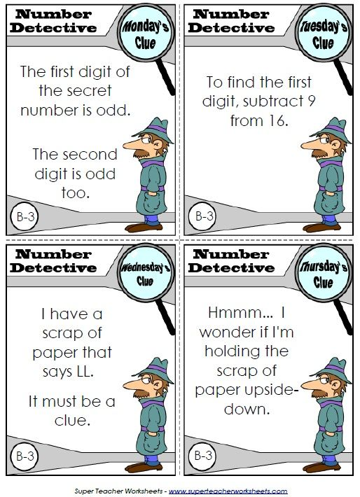 Read the clues and help Inspector Numerico, the Number Detective, figure out the mystery number problems.