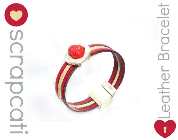 Beautiful Women Leather Bracelet Stone Collection // by ScrapCati, €16.00