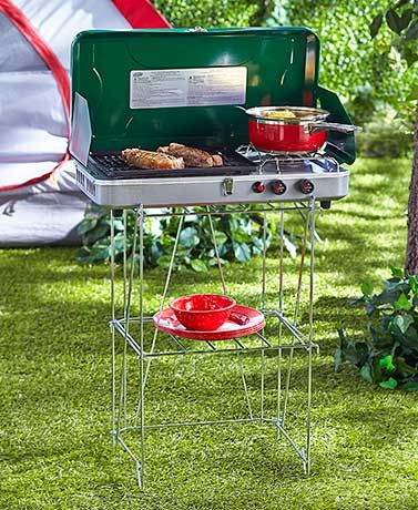 The Portable Camping Kitchen Essentials Ensure A Hot Meal While Or Tailgating Deluxe Stove And Grill X Open Features