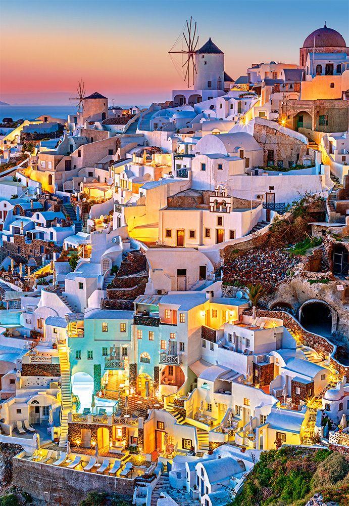 Santorini Lights - 1000pc Jigsaw Puzzle By Castorland