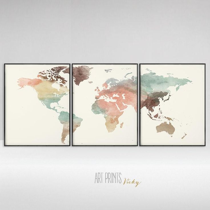 3 pieces pastel world map poster