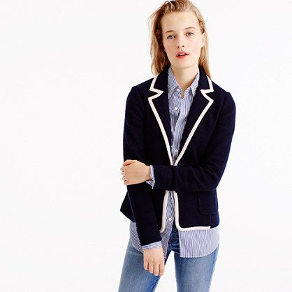 J CREW: A slightly less structured blazer in tipped merino wool is perfect for layering now, over your favorite shirts, or later, under your winter coat.