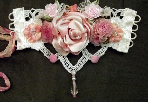 Handmade bridal cuff, shabbychic, romantic ivory and pinks, roses and Venice lace, organza and net