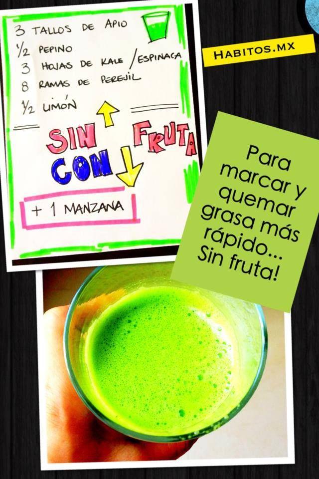 Jugo verde: apio, pepino, kale/espinacas, perejil y limón