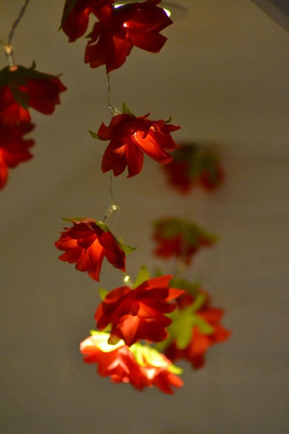 Red rose flower fairy string lights 10 LED battery by Lumiihome lighting Pinterest ...