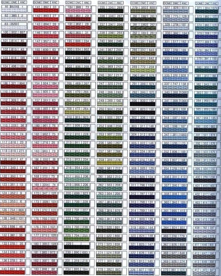 Tabelas de Conversão de Linhas para Bordar :http://www.coisafacil.com/tabelas-de-conversao-de-linhas-para-bordar/