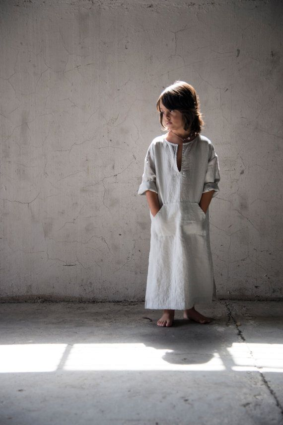 Unique unisex outfit for kids High end pure linen by YUMEworld