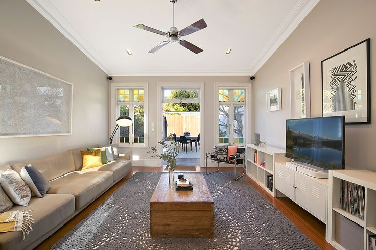 Light-filled living area with soaring ceiling