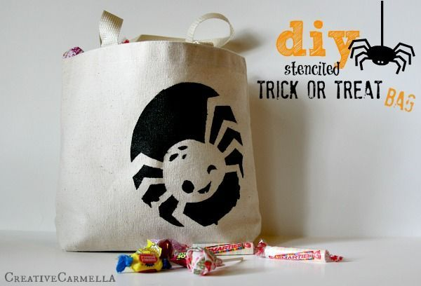 This DIY stenciled trick or treat bag is the perfect simple Halloween craft. Make it yourself or include the kids in on the fun!