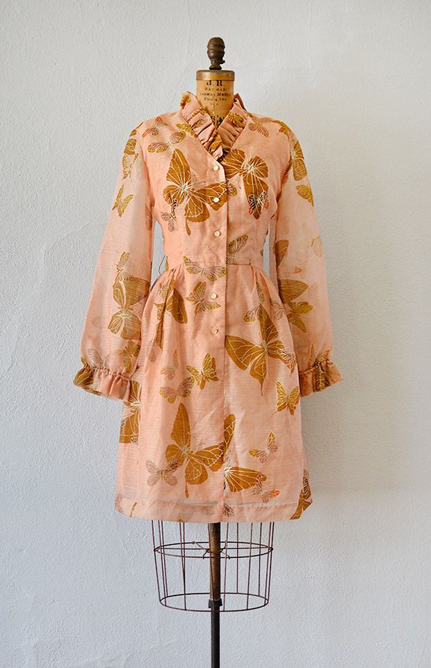 vintage 1960s Alfred Shaheen butterfly print dress