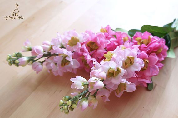 """Gradient Pink Delphinium Each stem measures approx. 31"""" in length. Flower head part approx. 9"""" in length and 3"""" in wide. Each stem has 23 small flowers and buds, measures approx. 1/2"""" – 2 1/4"""" in width. The listing is for ONE stem.  ** This delphinium can be ordered WITH or WITHOUT the stems.  {Perfect for} - bridal headpiece, wedding crown, bouquet, boutonniere - hair piece and jewellery making - gift packaging - wedding, anniversary, birthday, party and holiday decorating Handpick..."""