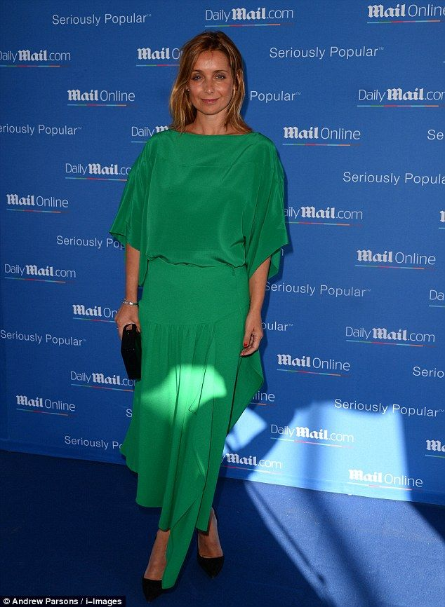 Green dream: Louise Redknapp looked chic in a vintage-style green dress as she attended th...