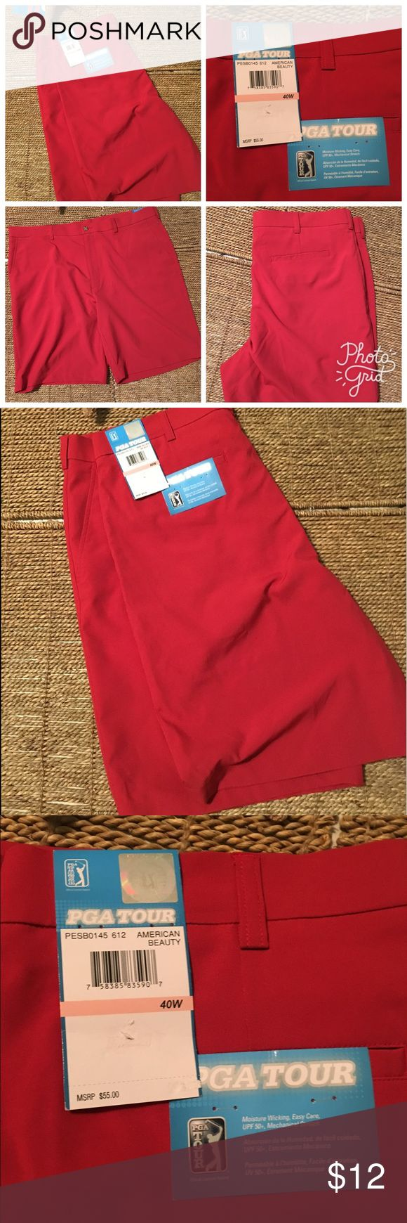 NWT PGA Golf shorts Sz 40 American beauty He shorts are new with tags's lightweight quick drying and a great Addition to your golf wardrobe.  Save money when you bundle by purchasing more than one item from my closet and pay 💰 One low rate for shipping! questions? Comment below this listing thank you for shopping my closet! PGA Shorts Athletic