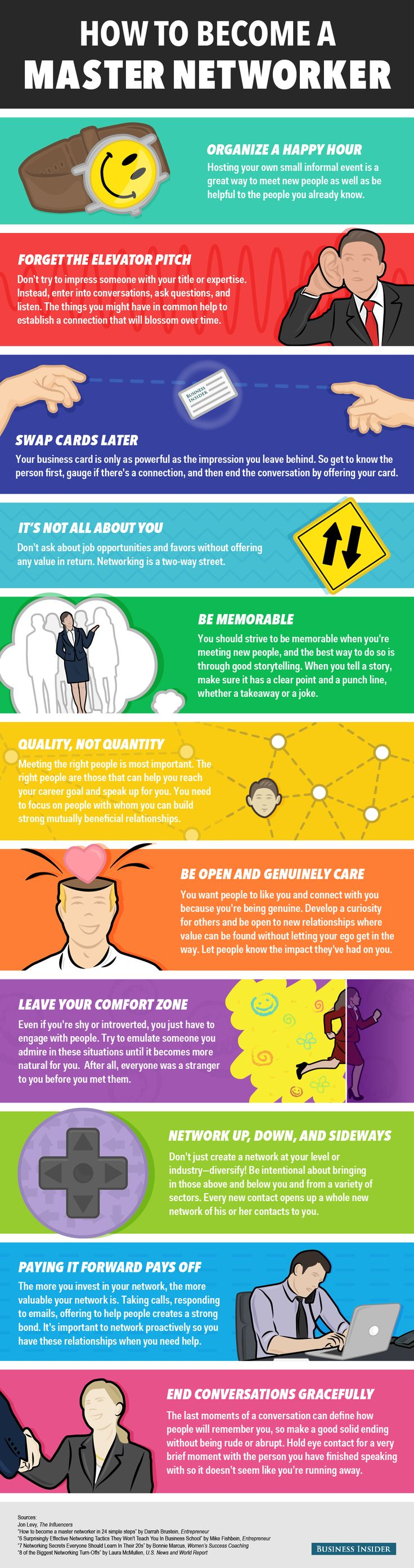 11 Ways to Become a Master Networker [Infographic] http://blog.hubspot.com/sales/ways-to-become-a-master-networker?utm_content=buffer9bdc5&utm_medium=social&utm_source=pinterest.com&utm_campaign=buffer #networking #sales