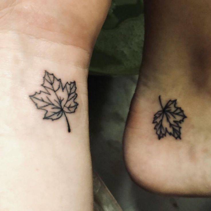 My wife and I got small and simple falling leaf tattoos for our Autumn wedding b…,  #autumn…