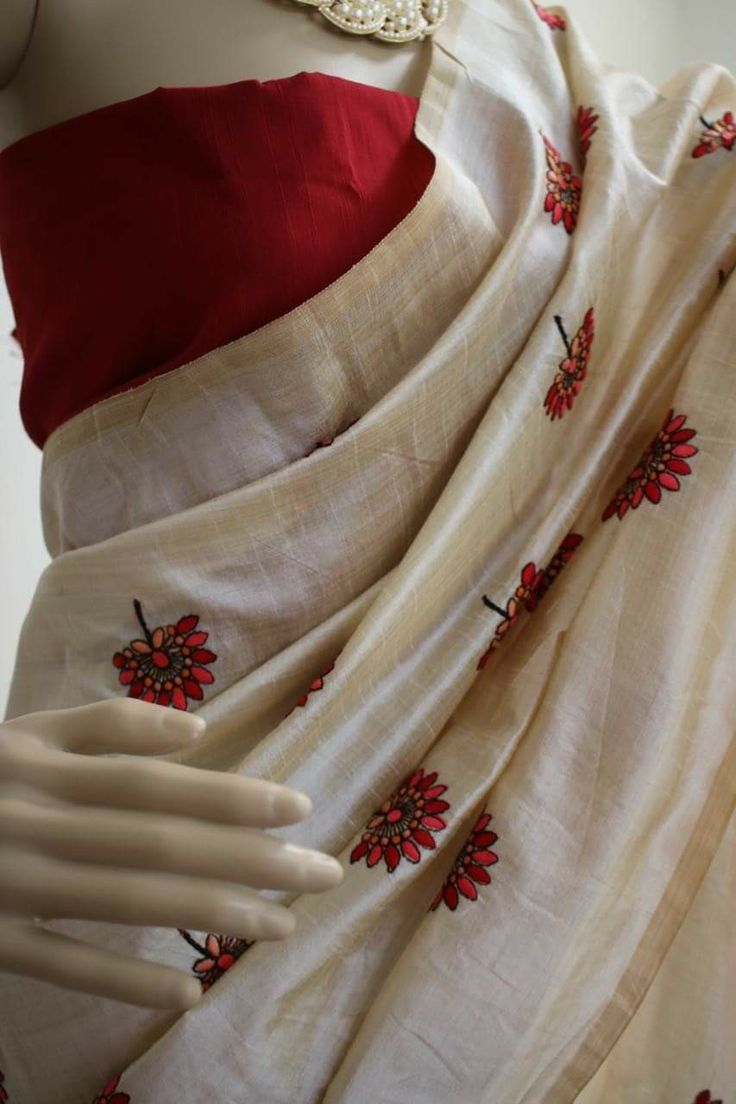 Premium quality soft chanderi silk saree with all over embroidery work.  Contrast semi raw silk blouse.. Price:2900 Order what's app 7995736811