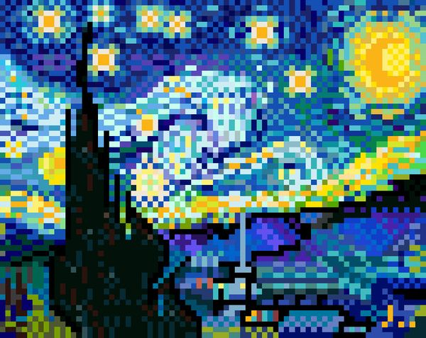starry night as you have never seen it before!! Super Fun Pixel Art by Jaebum Joo