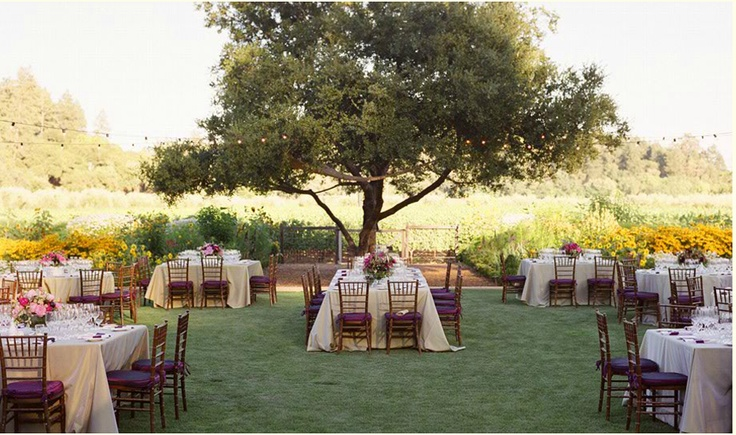 Outdoor wedding-table arrangements