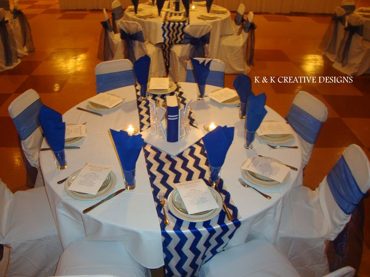 Blue Amp White Centerpieces High School Reunion Decor