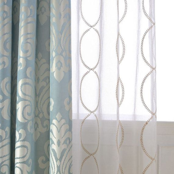 A Pair Of Gold Leaf Infinity Patterned Embroidey Sheer Curtains Made To Order Upto 104 L