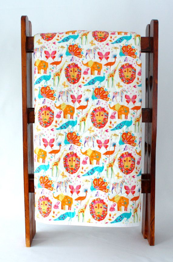 Origami Cranes and Animals Modern Baby Quilt by bordercityquilts