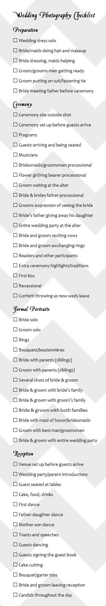 A great resource-wedding photography checklist