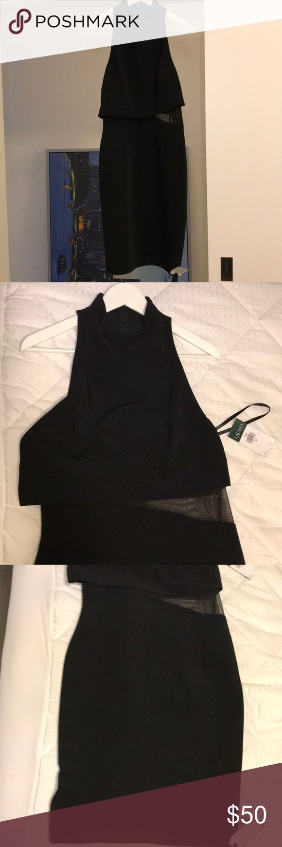 Original Ralph Lauren Dress NWT 12 I am a selling a new  Lauren Ralph Lauren dress. A staple black dress for any occasion. Sheer detail on left side. Invisible zipper. Size: 12 New with Tags Color: Black Lauren Ralph Lauren Dresses