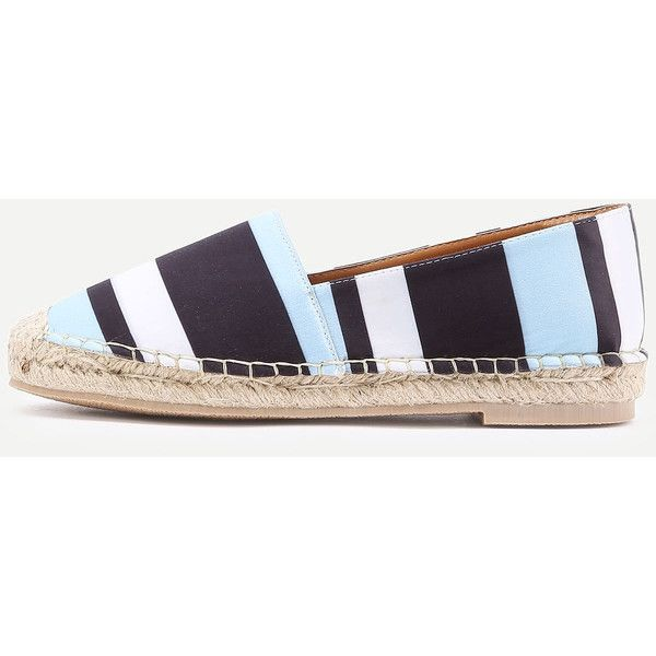 SheIn(sheinside) Block Striped Print Espadrille Flats ($33) ❤ liked on Polyvore featuring shoes, flats, blue flat shoes, color block flats, flat pumps, multi color flats and striped flats
