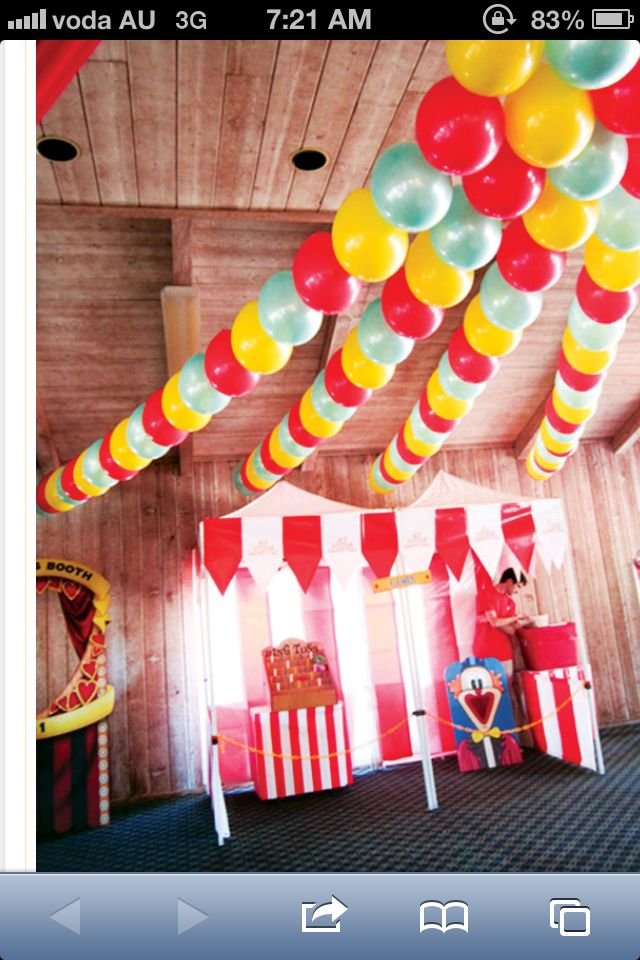 CARNIVAL--love the big impact of the balloons would work well with the put a marble in the balloon so the hang upside down idea.