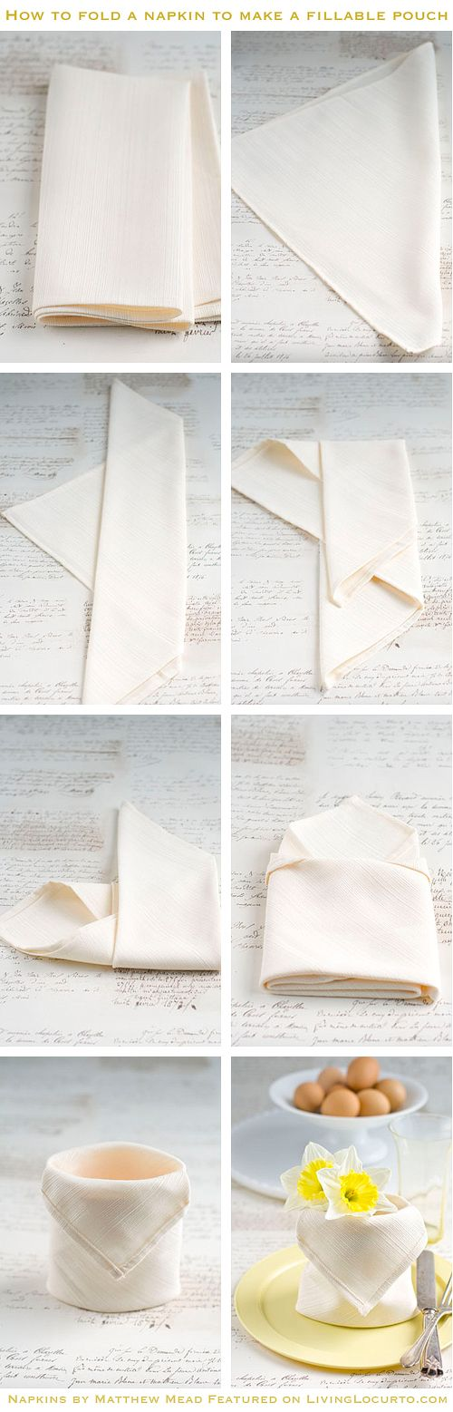 How to fold a Napkin Tutorial. Click to see more beautiful ideas for using napkins.