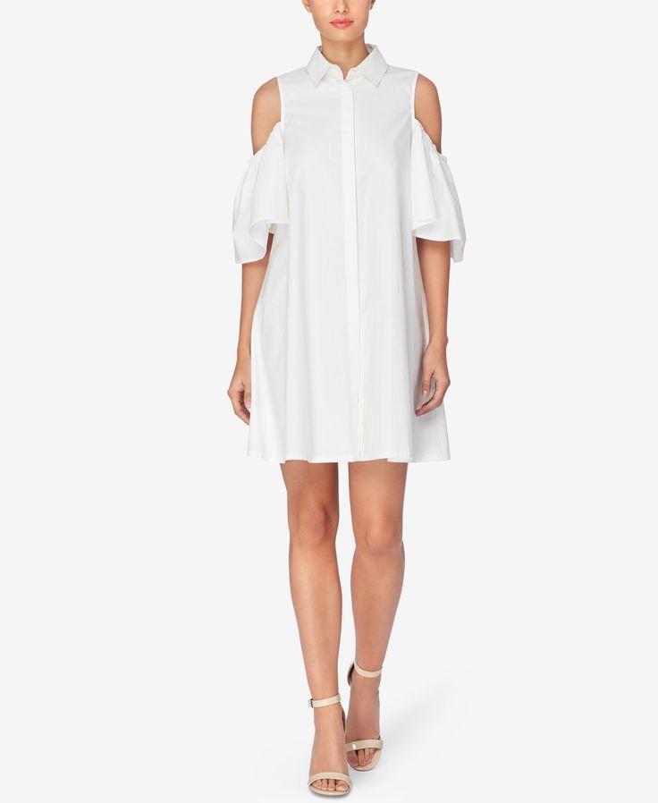 Catherine Catherine Malandrino Cotton Cold-Shoulder Shirtdress