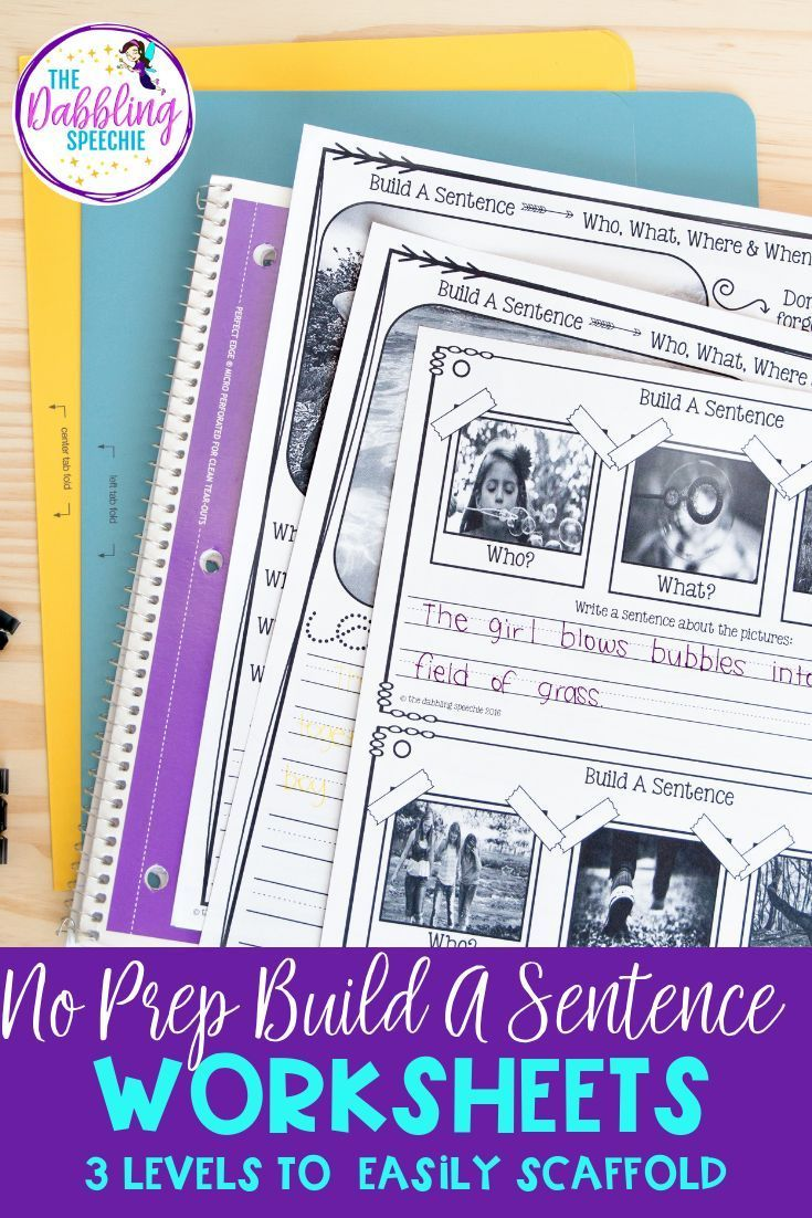 Work On Building More Complex Sentence Structures Using These No Prep Build A Sentence Works Sentence Activities School Speech Therapy Speech Therapy Materials [ 1102 x 735 Pixel ]