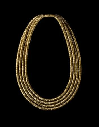 Necklace or collar of gold consisting of four rows of rings threaded on a pad of fibre: Ancient Egyptian, from Qurna, Thebes, 2nd Intermediate Period, 17th Dynasty, c.1585-1545 BC