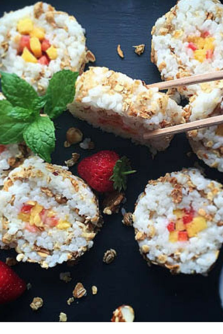 Vegan Breakfast Sushi , HCLF , Sweet sushi, for Plant Based Cooks Vegan Magazine http://www.plantbasedcooks.com/sweet-coconut-breakfast-sushi-high-carb-low-fat-treat-with-molly/