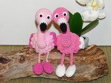 Häkelanleitung Flamingo, Kantenhocker oder Schlüsselanhänger